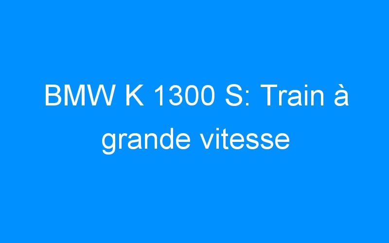 BMW K 1300 S: Train à grande vitesse
