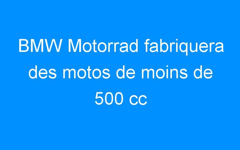BMW Motorrad fabriquera des motos de moins de 500 cc