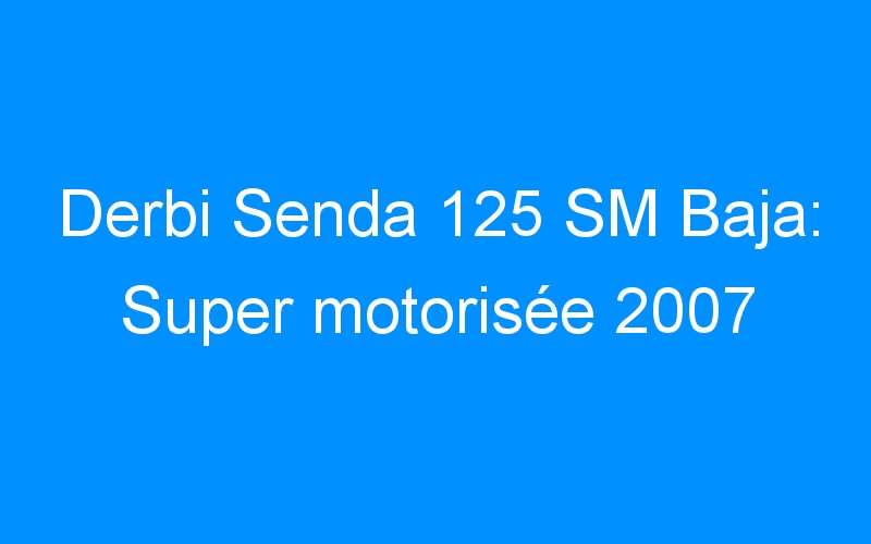 Derbi Senda 125 SM Baja: Super motorisée 2007