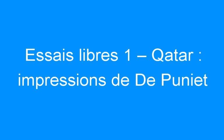 Essais libres 1 – Qatar : impressions de De Puniet