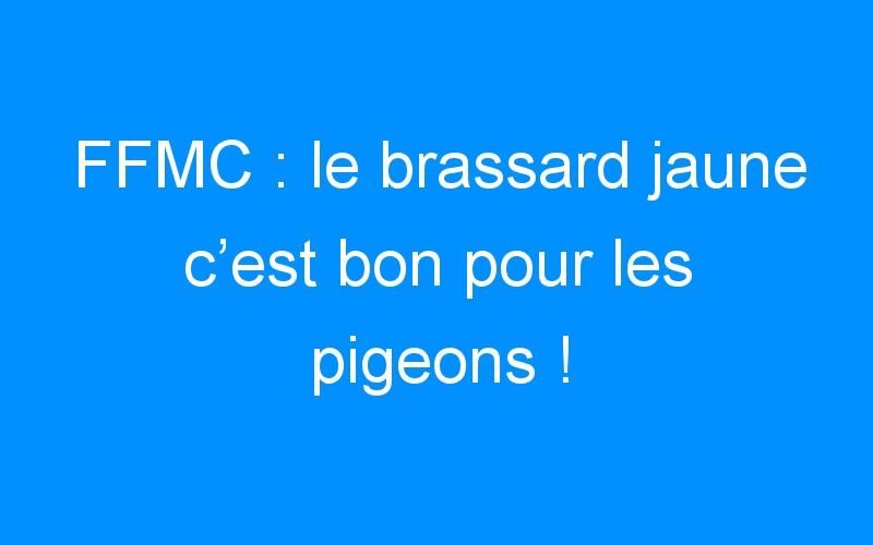 FFMC : le brassard jaune c'est bon pour les pigeons !