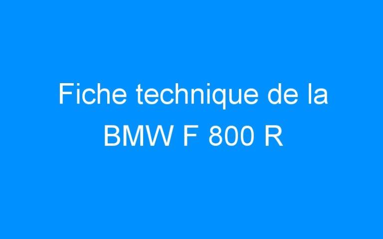 Fiche technique de la BMW F 800 R