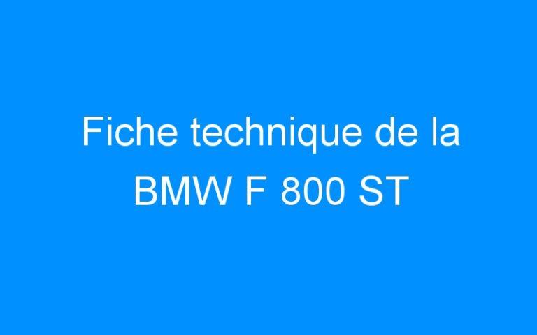 Fiche technique de la BMW F 800 ST