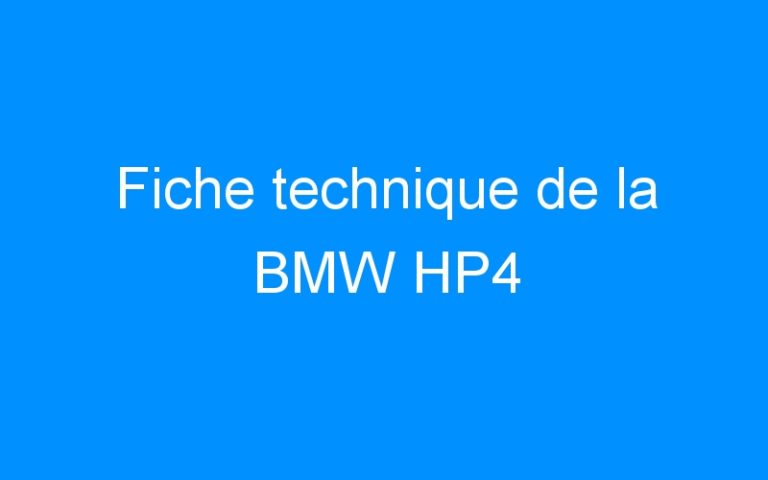 Fiche technique de la BMW HP4