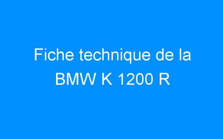 Fiche technique de la BMW K 1200 R