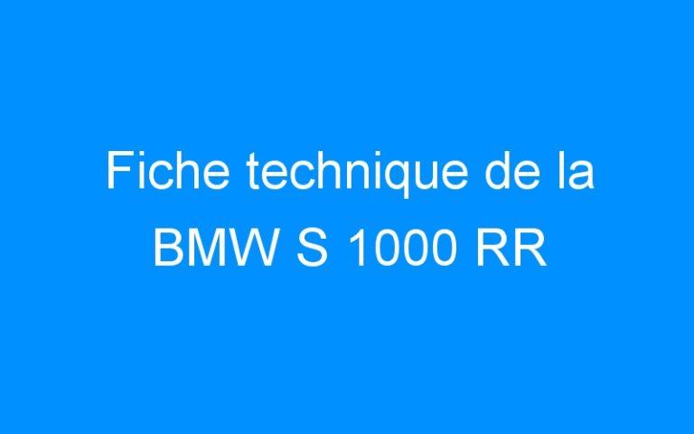 Fiche technique de la BMW S 1000 RR