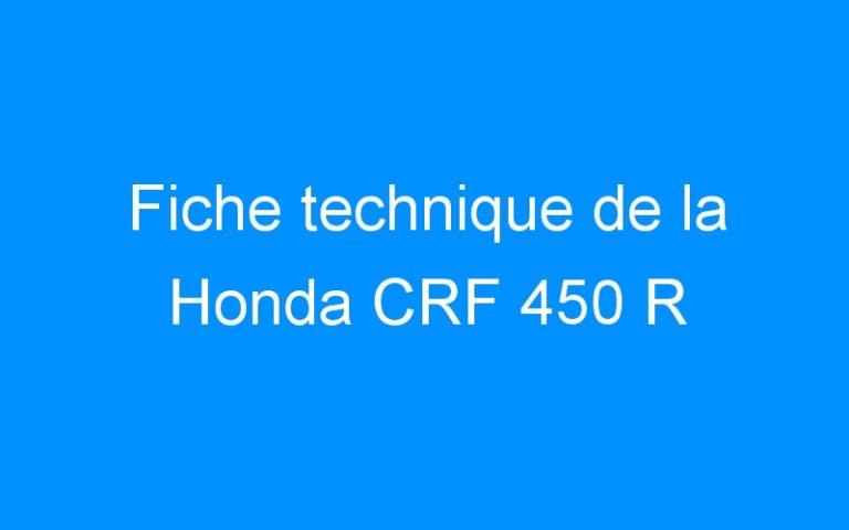 Fiche technique de la Honda CRF 450 R