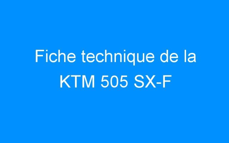 Fiche technique de la KTM 505 SX-F