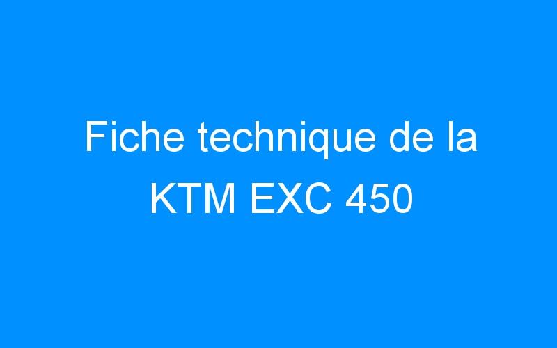 Fiche technique de la KTM EXC 450