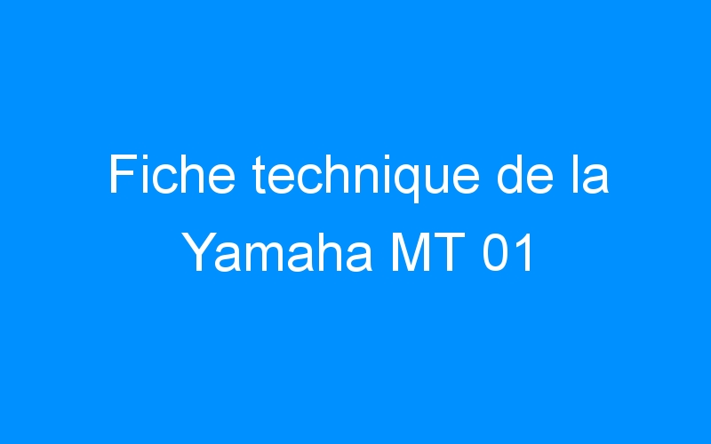 Fiche technique de la Yamaha MT 01