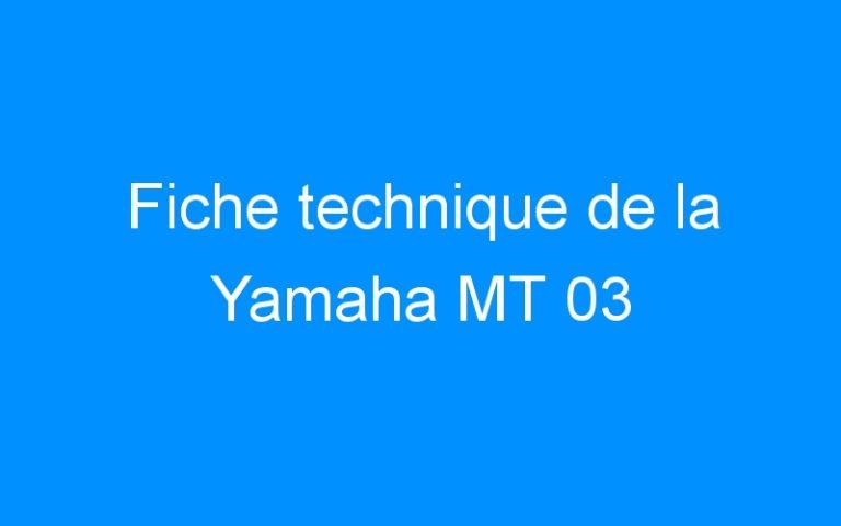 Fiche technique de la Yamaha MT 03