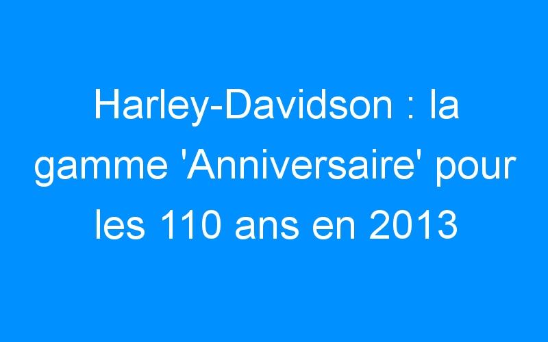 Harley-Davidson : la gamme 'Anniversaire' pour les 110 ans en 2013