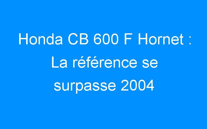 Honda CB 600 F Hornet : La référence se surpasse 2004