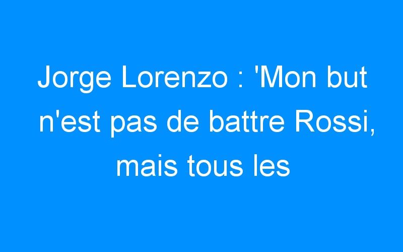 Jorge Lorenzo : 'Mon but n'est pas de battre Rossi, mais tous les pilotes'