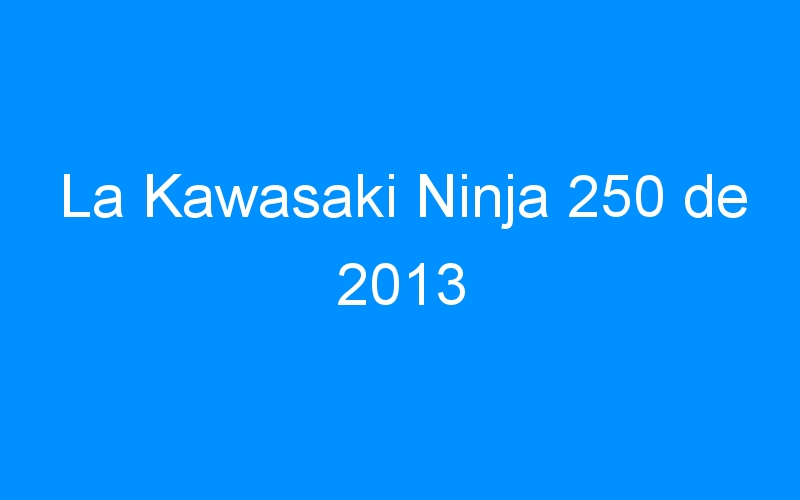 La Kawasaki Ninja 250 de 2013