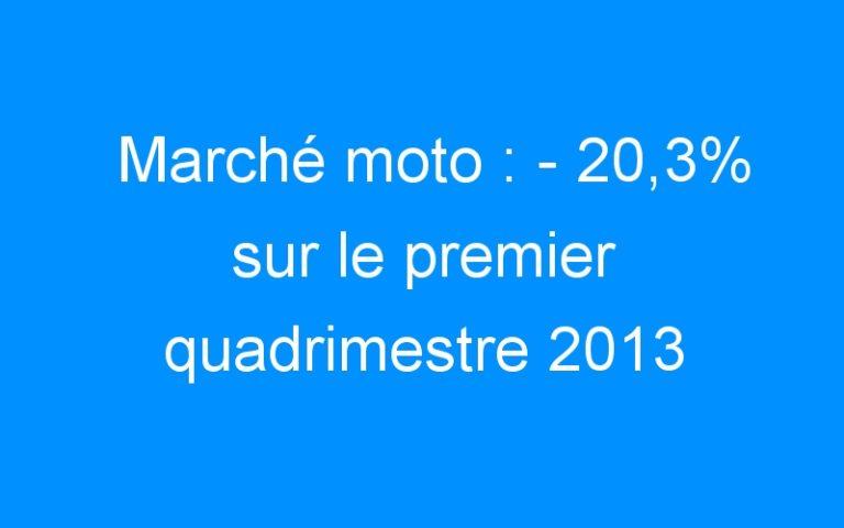 Marché moto : – 20,3% sur le premier quadrimestre 2013