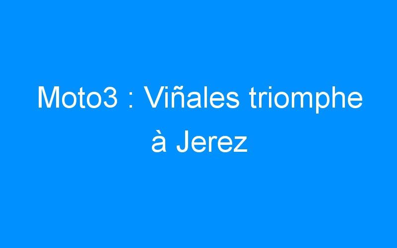 Moto3 : Viñales triomphe à Jerez