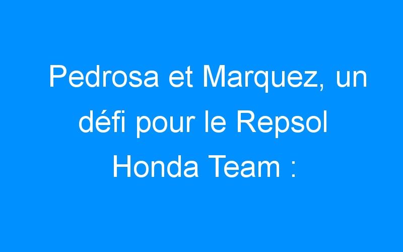 Pedrosa et Marquez, un défi pour le Repsol Honda Team :