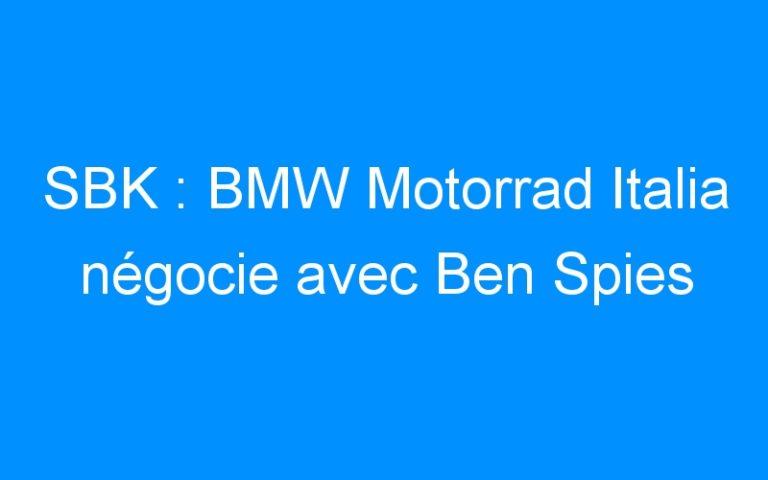 SBK : BMW Motorrad Italia négocie avec Ben Spies