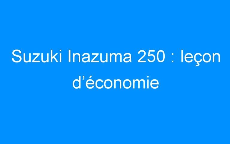 Suzuki Inazuma 250 : leçon d'économie