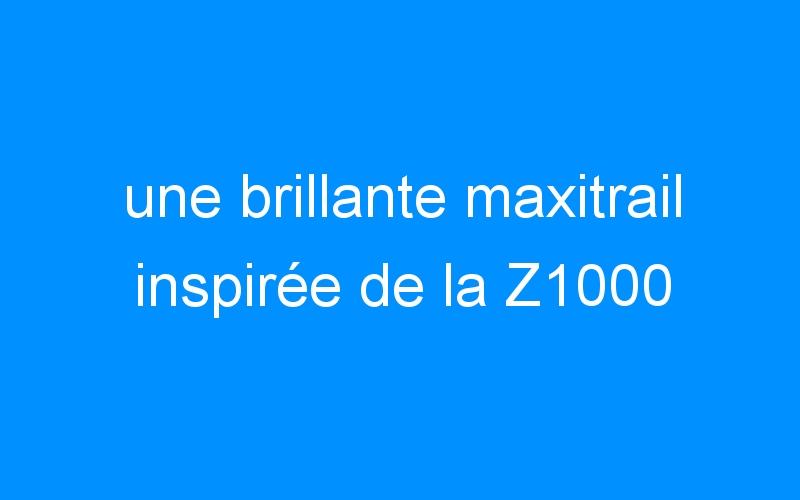 une brillante maxitrail inspirée de la Z1000